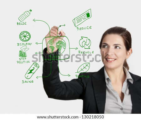 Beautiful woman drawing something about ecology, on glass board with a marker - stock photo