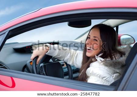 beautiful woman driving - stock photo