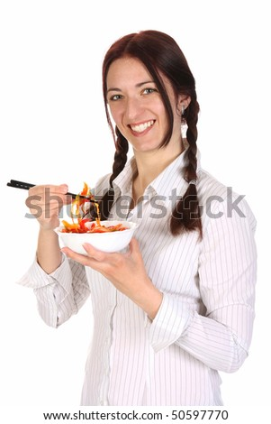 Beautiful woman eating with chopsticks, chinese food