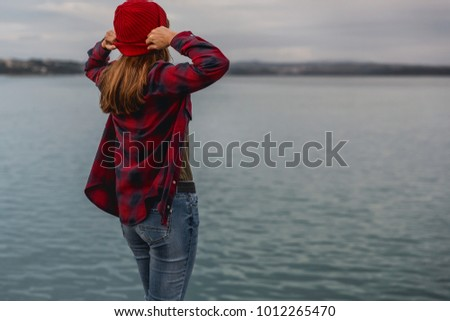 Beautiful woman enjoying her day on the lake