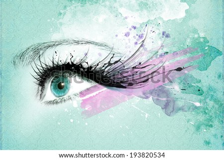 Beautiful woman eye, Artwork with ink in grunge style - stock photo