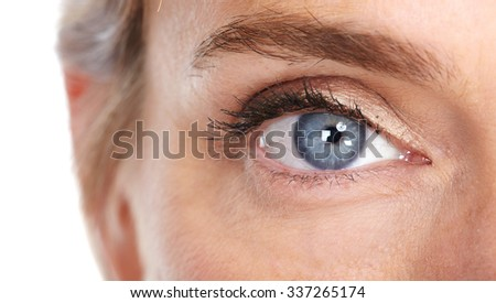 Beautiful woman eye close-up. Isolated white background. - stock photo