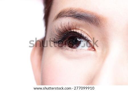 Beautiful woman eye with long eyelashes. asian model - stock photo