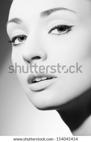 Beautiful woman face black and white