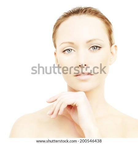 Beautiful woman, face close-up - stock photo