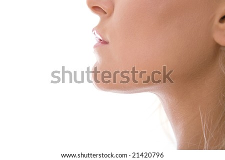 beautiful woman face close up on white background