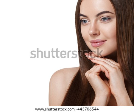 Beautiful woman face close up portrait studio on white with healthy long hair