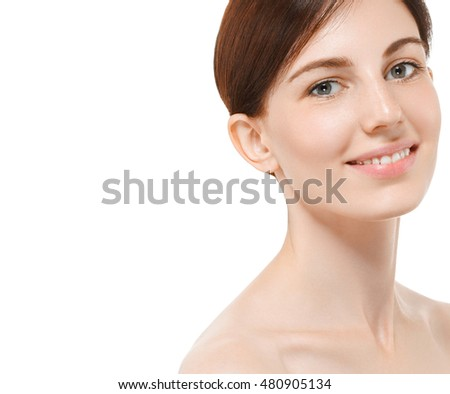 Beautiful woman face close up portrait with healthy skin and beauty concept