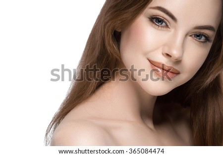 Beautiful woman face close up studio on white