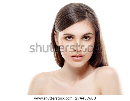 Beautiful woman face close up studio on white with sexy lips - stock photo