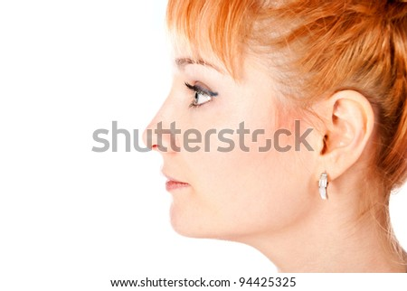 beautiful woman face isolated on a white background - stock photo