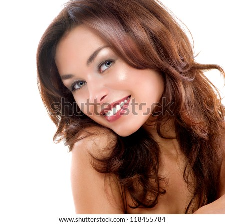 Beautiful Woman Face. Isolated on a White Background. Perfect Skin. Beauty Face. Professional Makeup