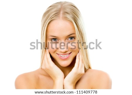 Beautiful woman face - isolated on white - stock photo