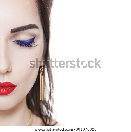 Beautiful woman face isolated on white background. Makeup concept