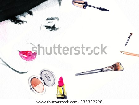 Beautiful woman face. makeup products. abstract watercolor .fashion background - stock photo