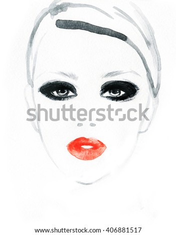 Beautiful woman face. Perfect makeup. Abstract fashion watercolor illustration