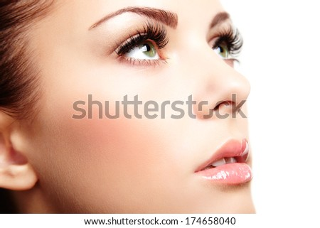 Beautiful woman face. Perfect makeup. Beauty fashion - stock photo