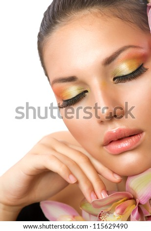 Beautiful Woman Face.Perfect Makeup.Professional Make-up. - stock photo
