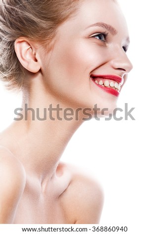 Beautiful woman face. Perfect toothy smile. Caucasian young girl close up portrait. red lips, skin, teeth. Isolated on white background. Studio shot . happy positive girl. - stock photo