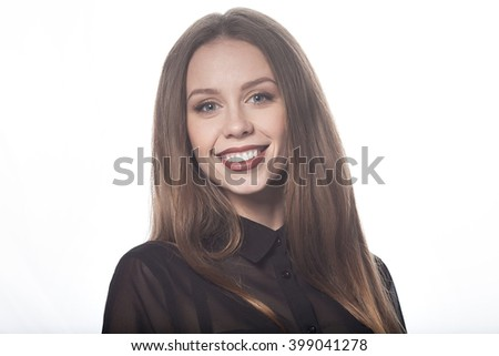 Beautiful woman face. Perfect toothy smile. Caucasian young girl close up portrait. red lips, skin, teeth. On white background. Studio shot . happy positive girl.