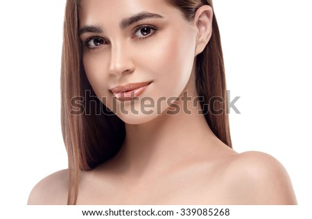 Beautiful woman face portrait studio on white