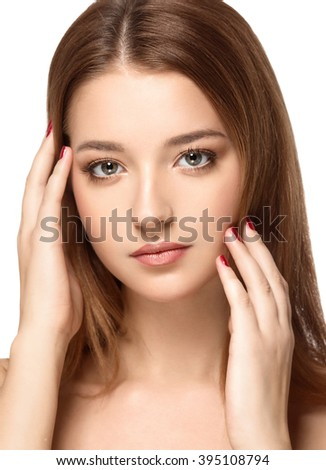 Beautiful Woman Face portrait with Clean Fresh Skin close up. Skin care face.Cosmetology