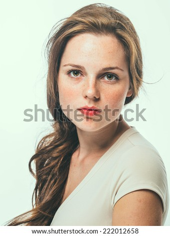beautiful woman face portrait young