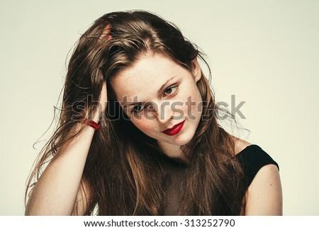 beautiful woman face portrait young   - stock photo