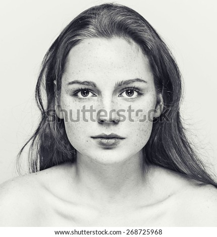 beautiful woman face portrait young black and white  - stock photo