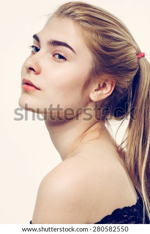 beautiful woman face portrait young blonde with long hair - stock photo
