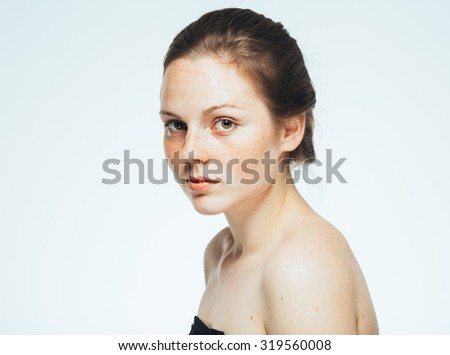 beautiful woman face portrait young isolated on white  - stock photo