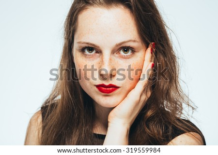 beautiful woman face portrait young isolated on white red lips - stock photo