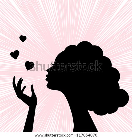 beautiful woman face silhouette with heart kiss - stock photo
