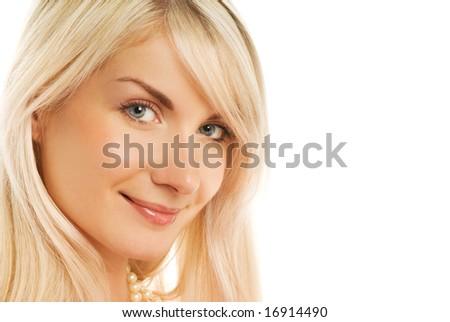 Beautiful woman face smiling. Isolated on white - stock photo