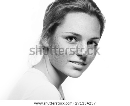 Beautiful woman face studio black and white