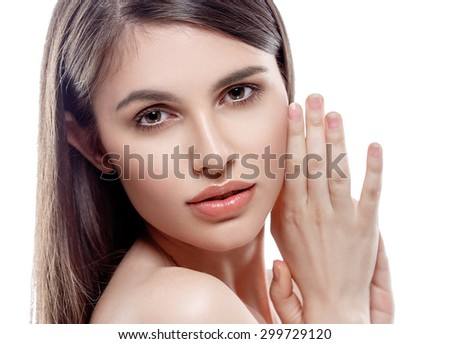 Beautiful woman face studio on white