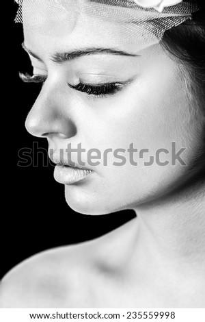 Beautiful woman face, toned image - stock photo