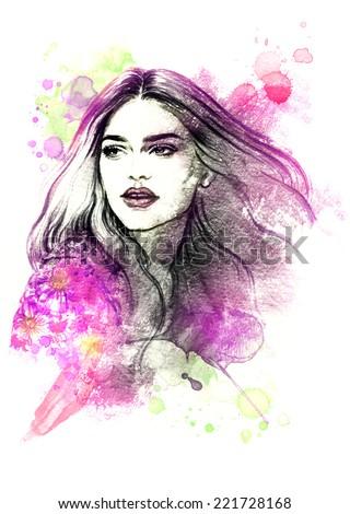 beautiful woman face. watercolor illustration - stock photo