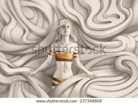 Beautiful  woman. Fantasy computer graphic illustration - stock photo
