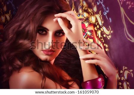 Beautiful woman. Fashion portrait - stock photo