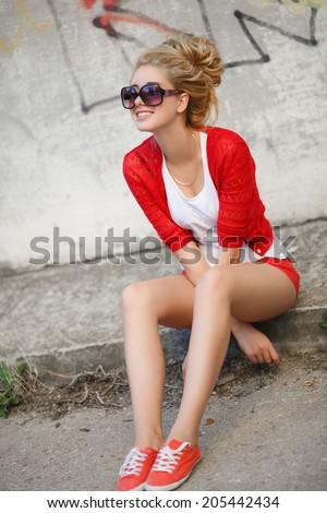 Beautiful woman fashionable young girl portrait.  - stock photo