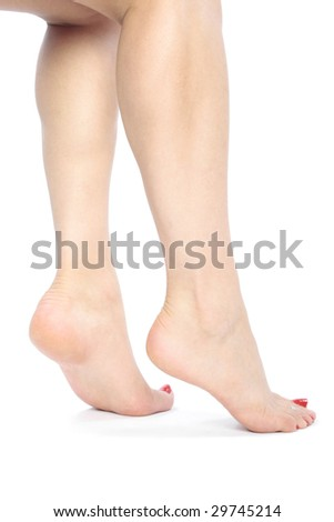 Beautiful woman   feet with pink flower  isolated over white