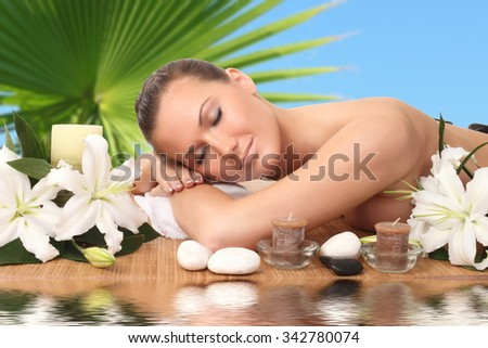 Beautiful woman getting spa , spa salon