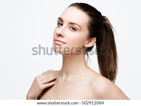 Beautiful woman girl with natural healthy makeup on white background
