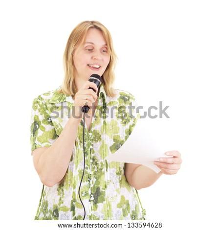 Beautiful woman giving a presentation - stock photo