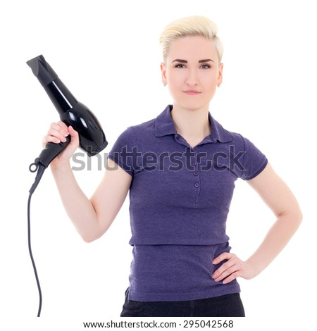 beautiful woman hair stylist posing with hairdryer isolated on white background - stock photo