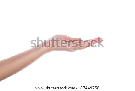 Beautiful woman hand holding isolated on white background - stock photo