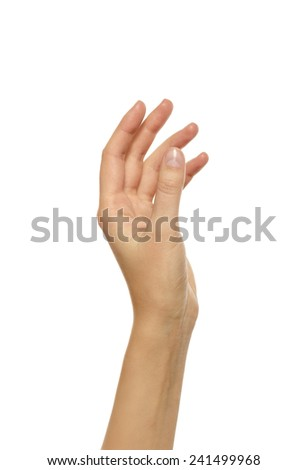Beautiful woman hand holding or stretches. Isolated on white background - stock photo