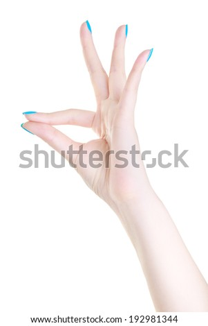 beautiful woman hand like a bird isolated on the white background - stock photo