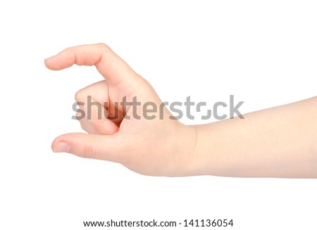 Beautiful woman hand on white background.